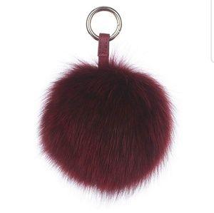 Genuine fox fur pom pom keychain womens bag charm